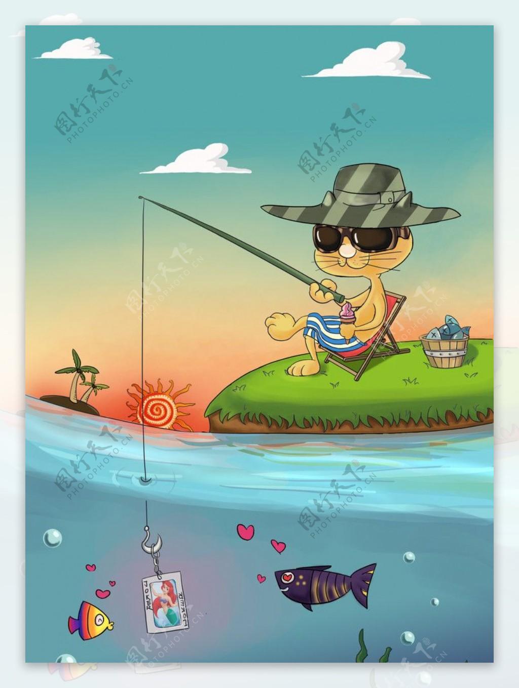 酷猫漫画钓鱼手绘原创图片